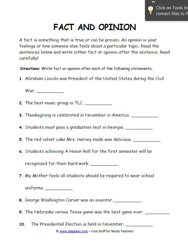Fact And Opinion Worksheets For Students Edgalaxy