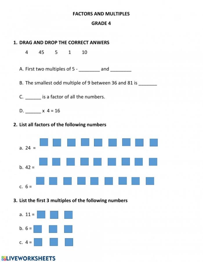 Factors And Multiples Worksheet