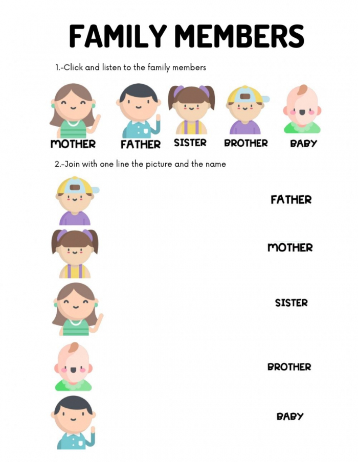 Family Members Online Exercise For Kinder