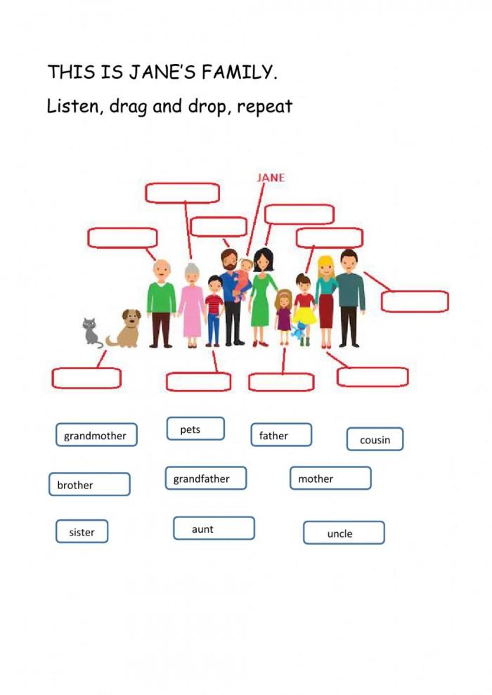 Family Members Worksheet For Grade