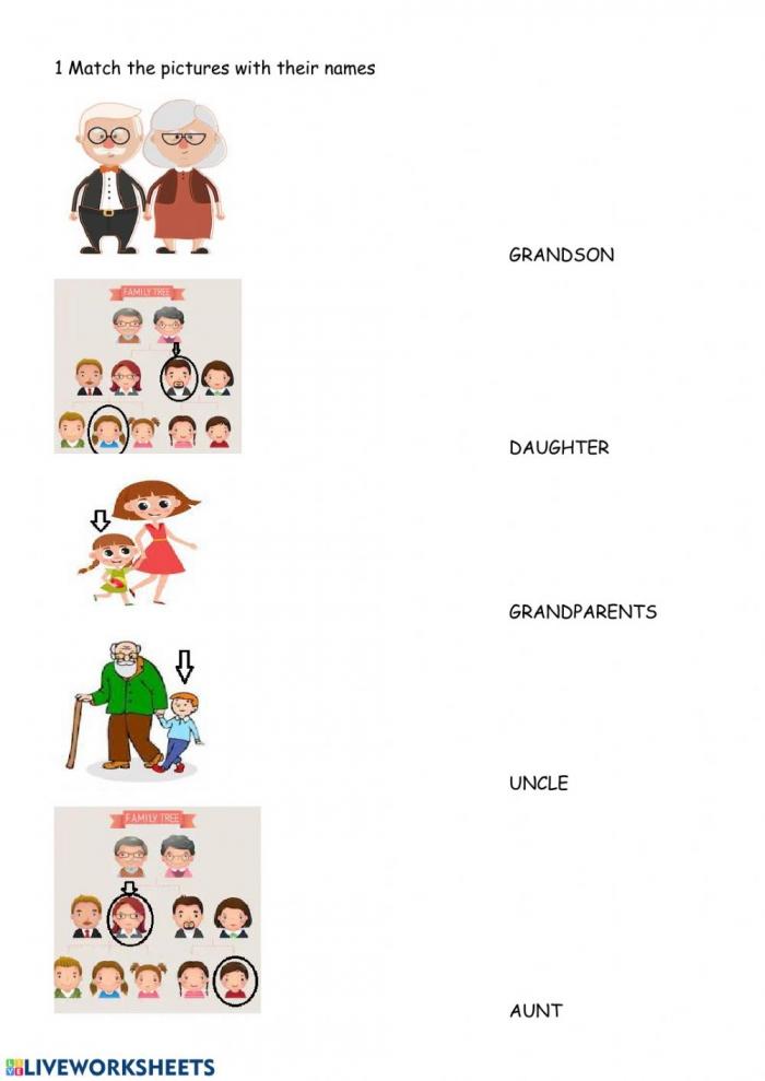 Family Members Worksheet For Kids