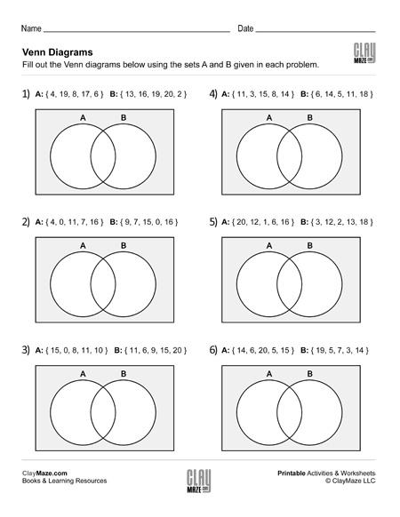 Fill In The Venn Diagrams Set Childrens Homeschool Books