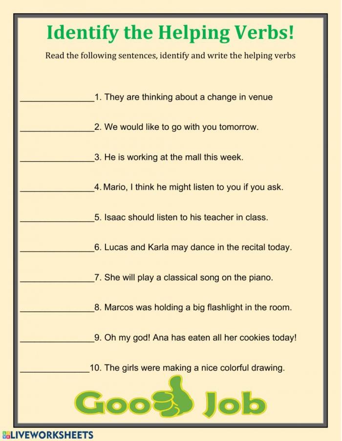 Fin The Helping Verbs Worksheet