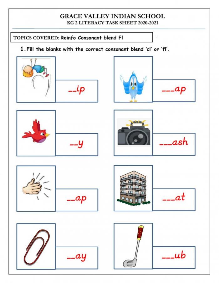 Fl Consonant Blends Worksheet