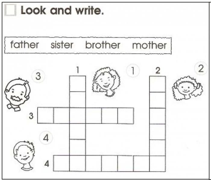 Four Family Members Worksheet