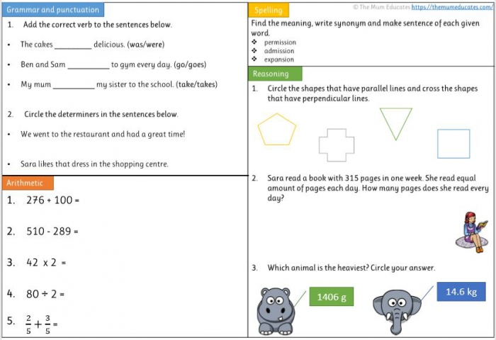 Free Year Worksheets