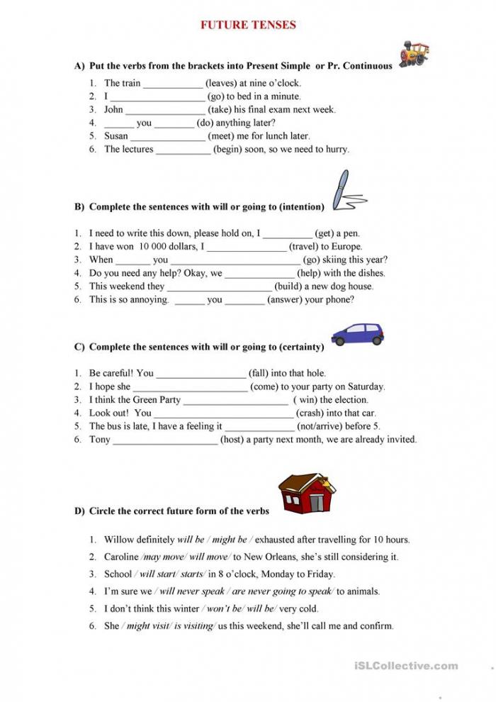 Future Tenses Worksheet