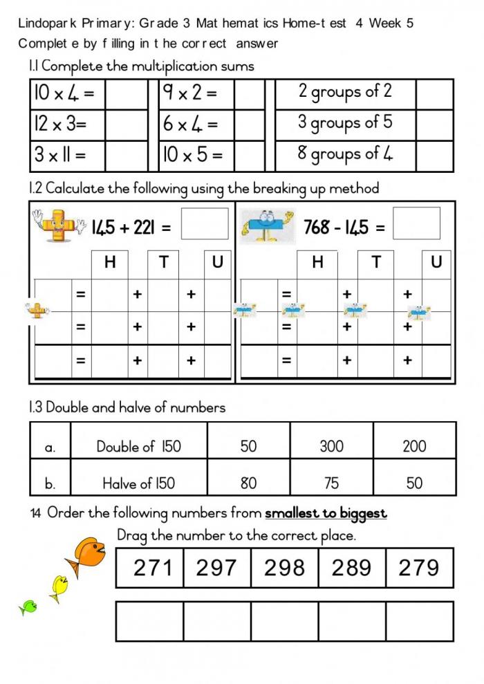 Grade Mathematics Home Test Term Week Friday Worksheet