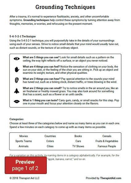 Grounding Techniques Worksheet