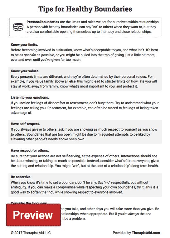 Healthy Boundaries Tips Worksheet