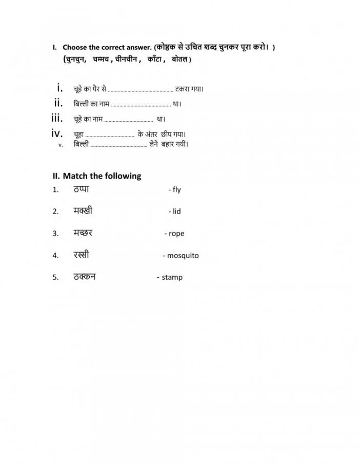 Hindi Class Unit Worksheet