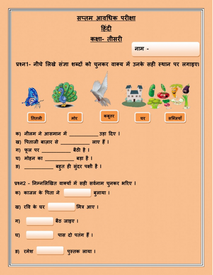 Hindi Paper Class Objective Type Worksheet