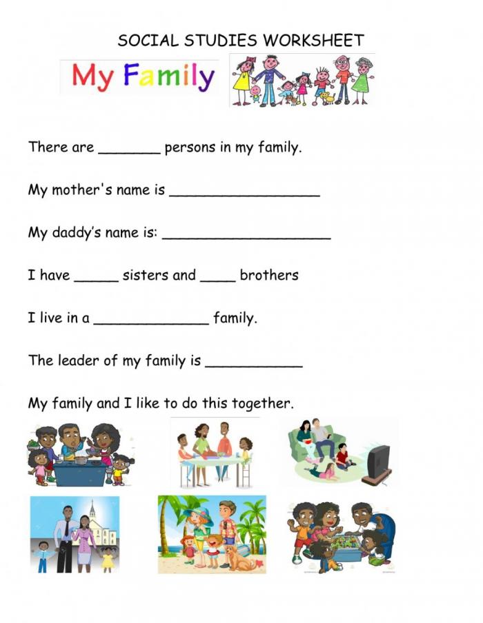 I Love My Family Worksheet