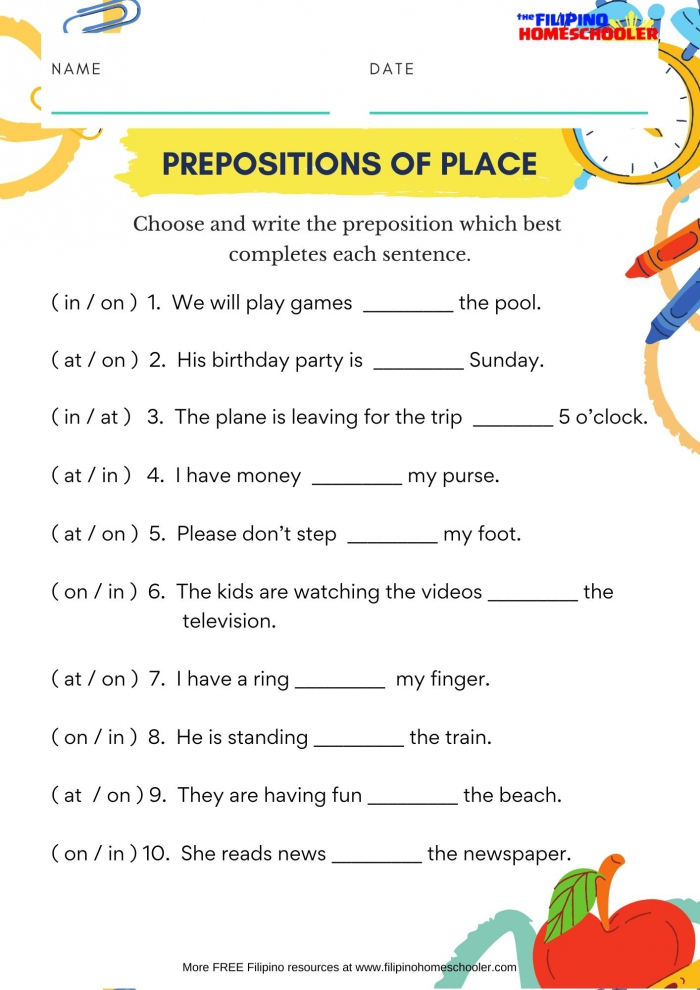 In On At Prepositions Of Place Worksheet The Filipino