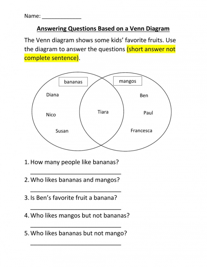 Interpreting Venn Diagram Worksheet