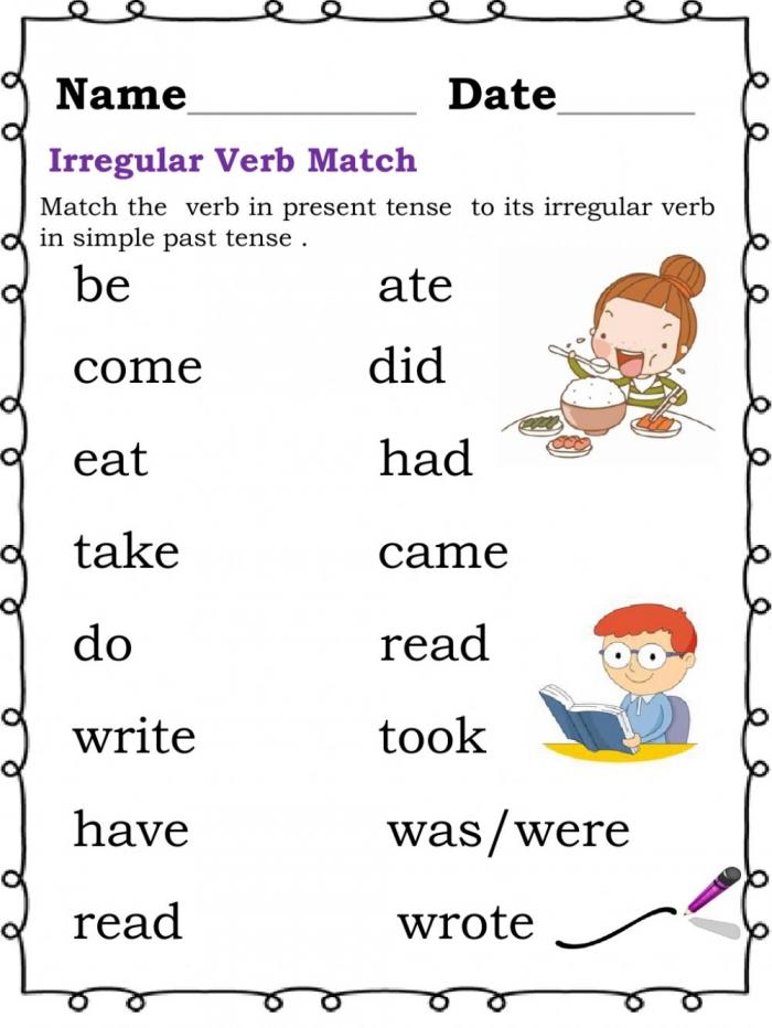 Irregular Verbs Online Exercise For Elementary