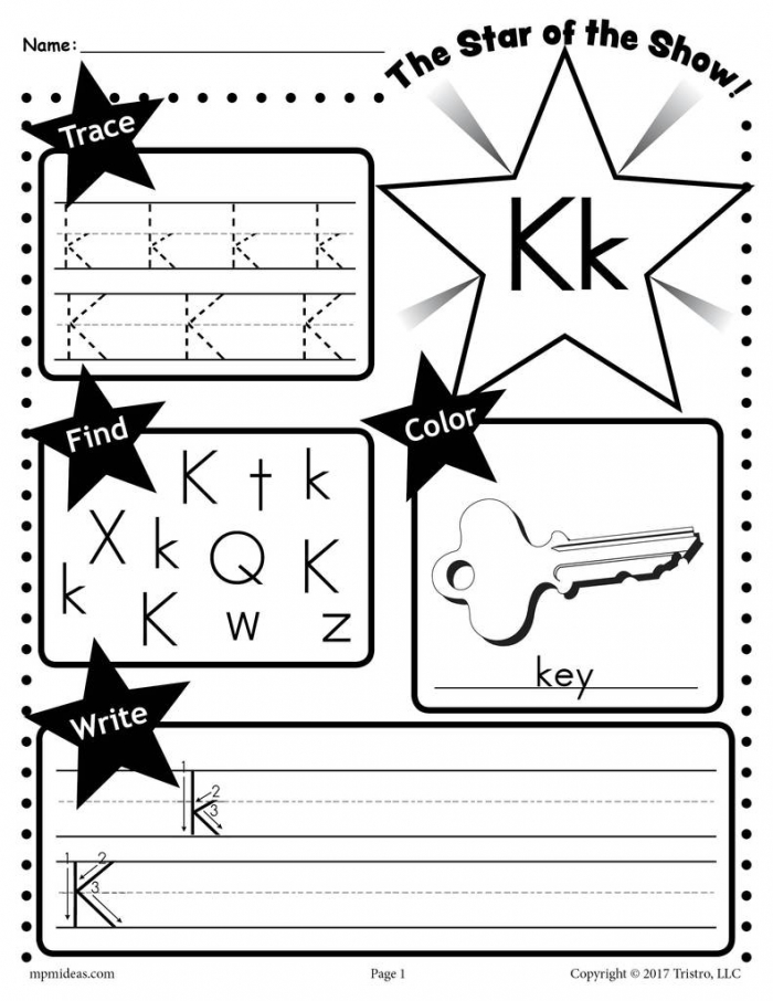 Letter K Worksheet Tracing Coloring Writing More Supplyme