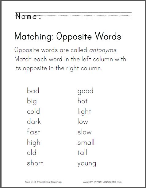 Matching Opposite Words