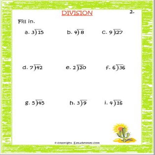 Maths Long Division Worksheet Grade