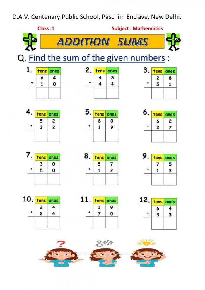 Maths Worksheet For Grade