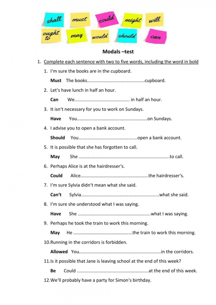Modal Verbs Interactive Exercise For Pre
