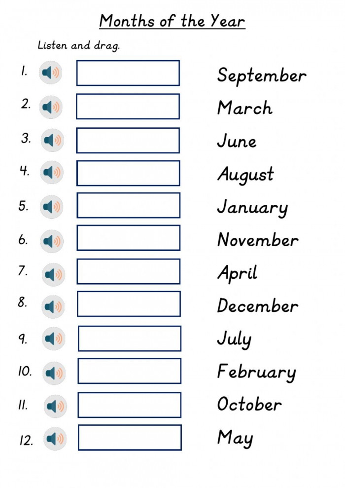 Months Of The Year Worksheet For Grade