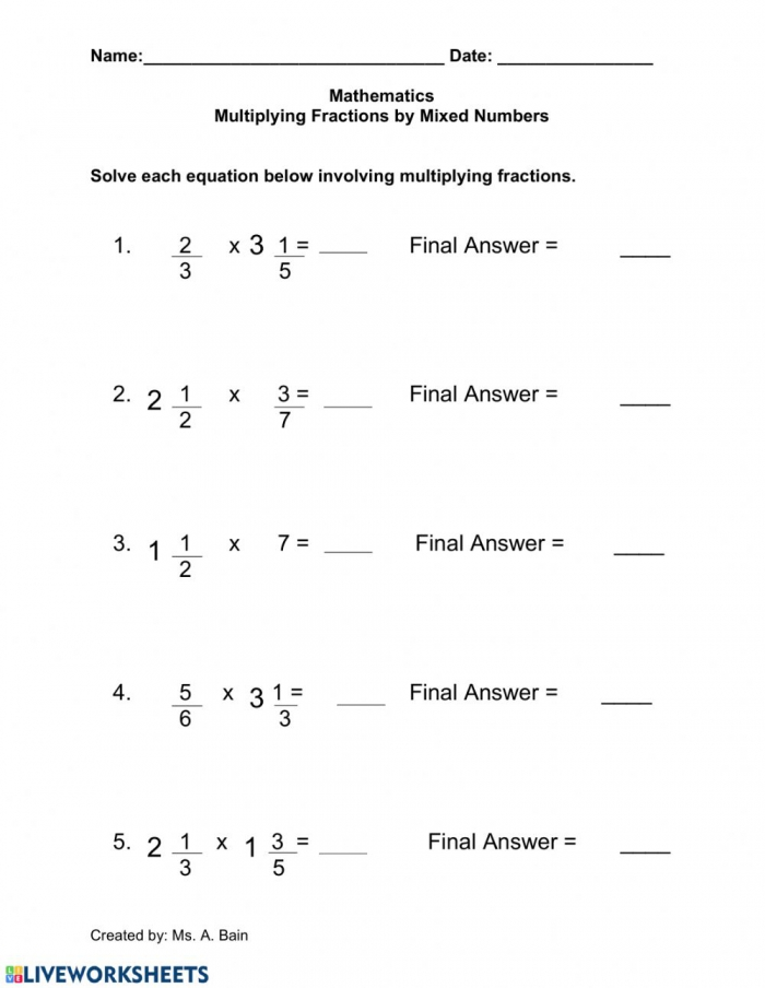 Multiplying Fractions By A Mixed Number Worksheet