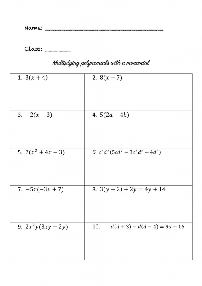Multiplying Polynomials With Monomials Worksheet