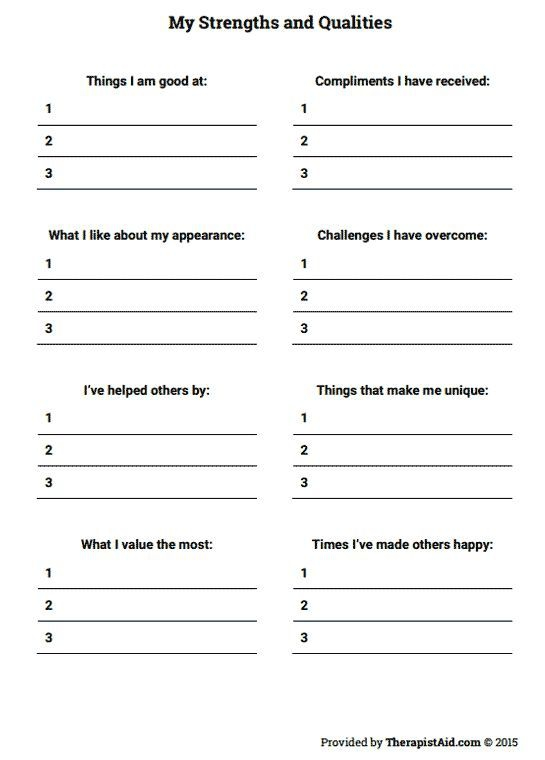 My Strengths And Qualities Worksheet