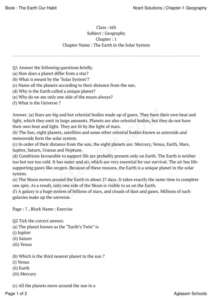 Ncert Solutions Class Geography Chapter The Earth In The Solar