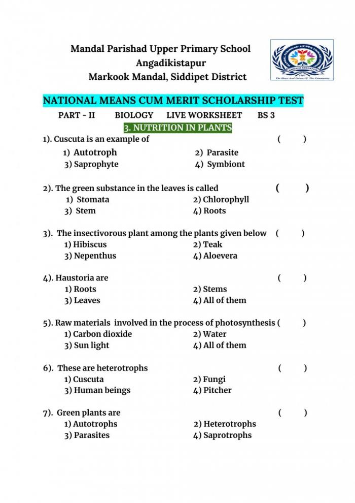 Nutrition In Plants Interactive Worksheet