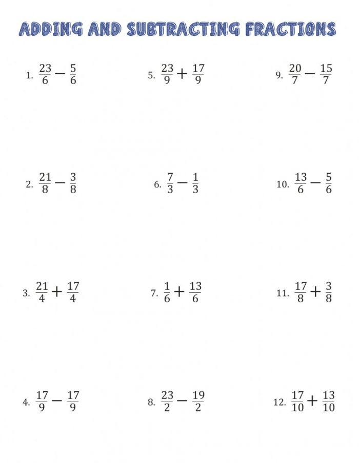 Operations With Fractions Worksheet