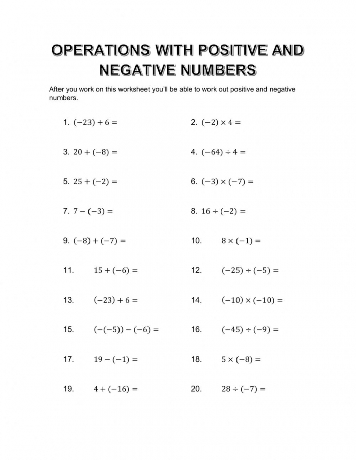 Operations With Positive And Negative Numbers Interactive Worksheet