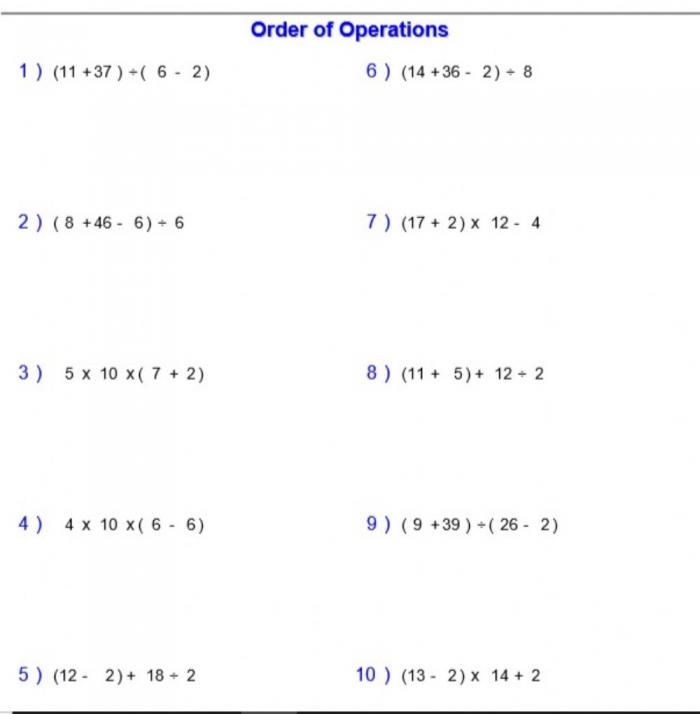 Order Of Operations Mdas With Parentheses Worksheet
