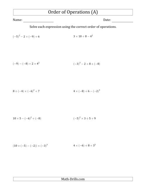 Order Of Operations With Negative And Positive Integers Four