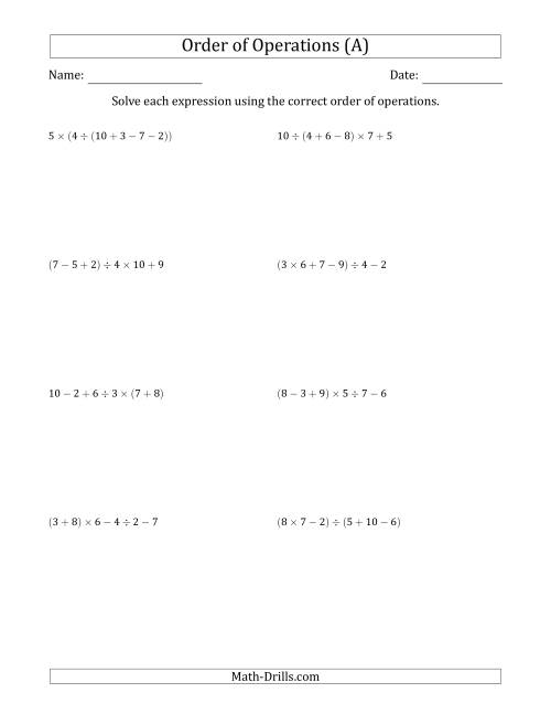 Order Of Operations With Whole Numbers And No Exponents Five