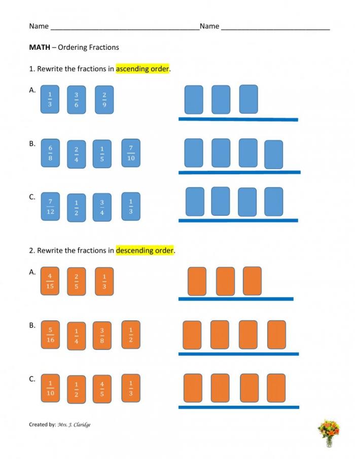 Ordering Fractions Interactive Worksheet