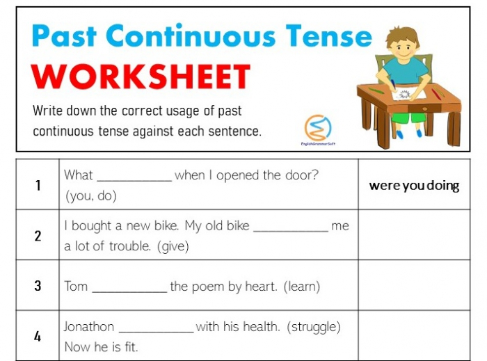 Past Continuous Tense Worksheet With Answers