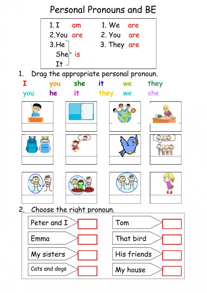 Personal Pronouns And Be Worksheet