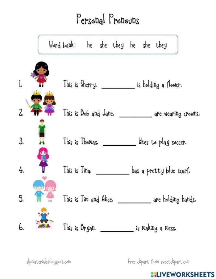 Personal Pronouns Online Exercise For