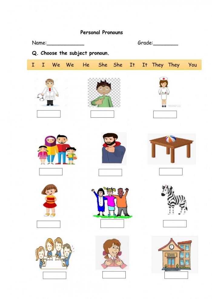 Personal Pronouns Online Pdf Worksheet