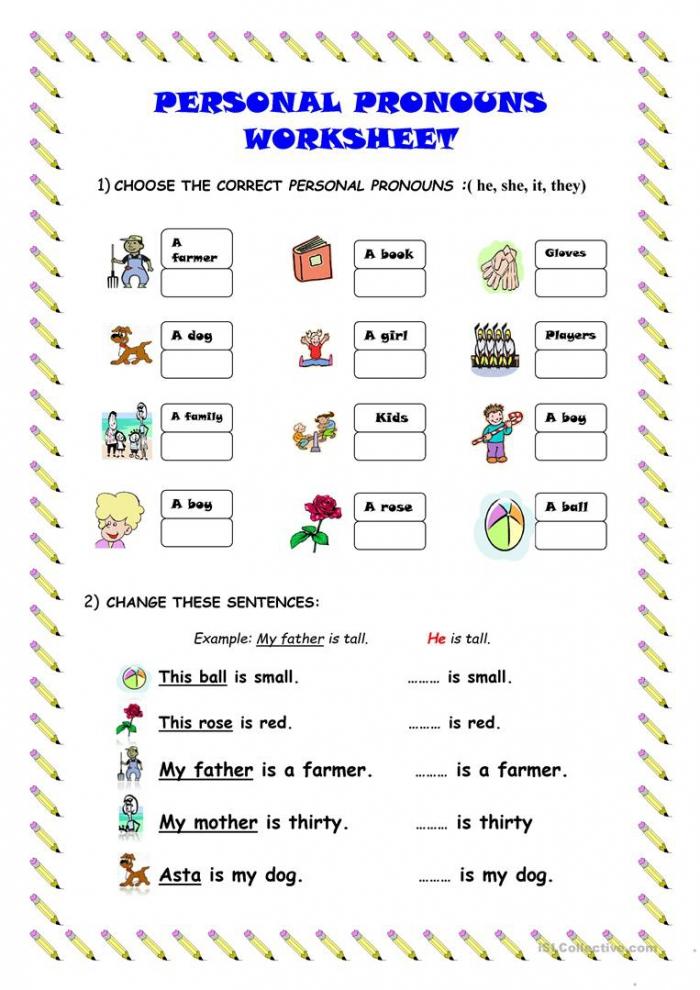 Personal Pronouns Worksheet