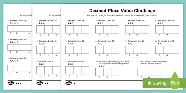 Place Value Of Decimal Numbers Activity