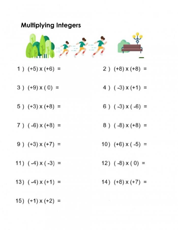 Practice Multiplying Integers Worksheet