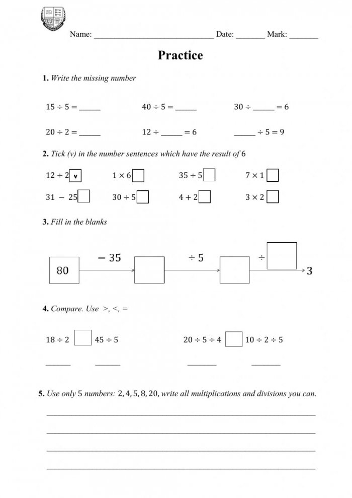 Practice On Class As A Divisor Worksheet