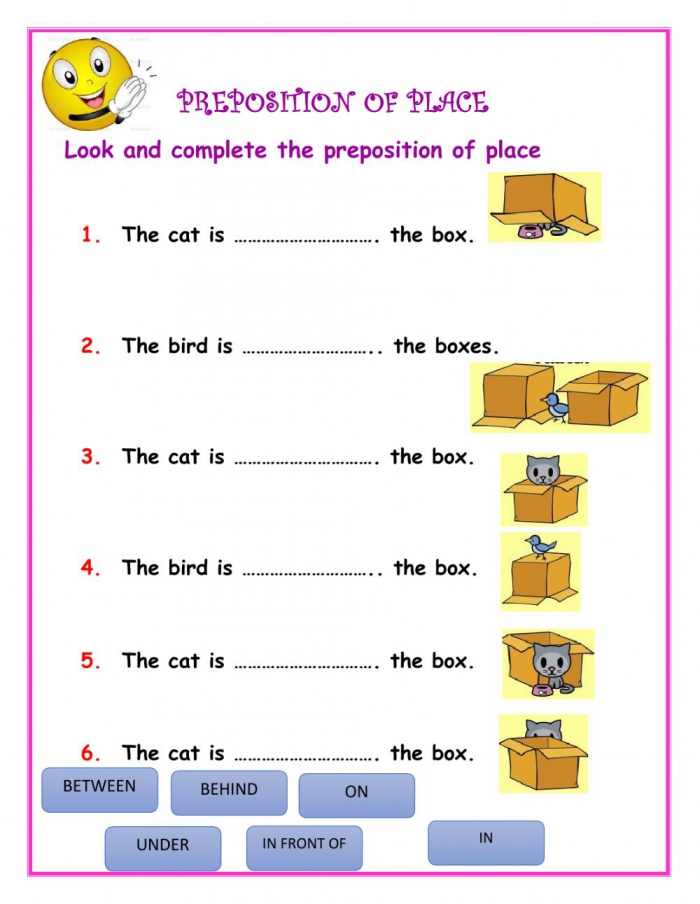 Preposition Of Place Online Exercise