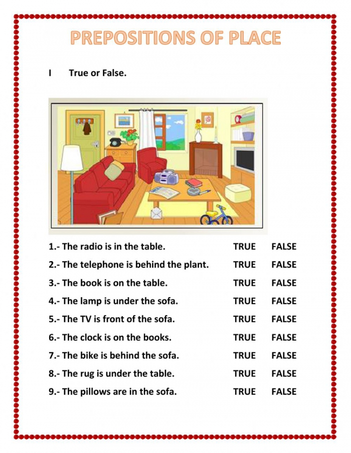 Prepositions Of Place Activity