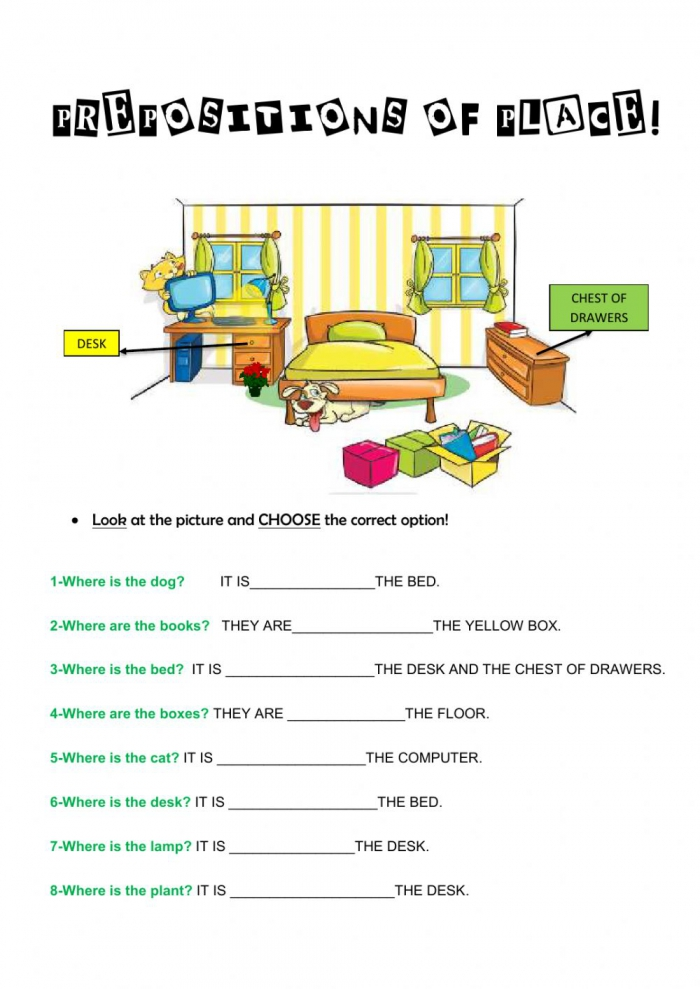 Prepositions Of Place Online Exercise For Rd