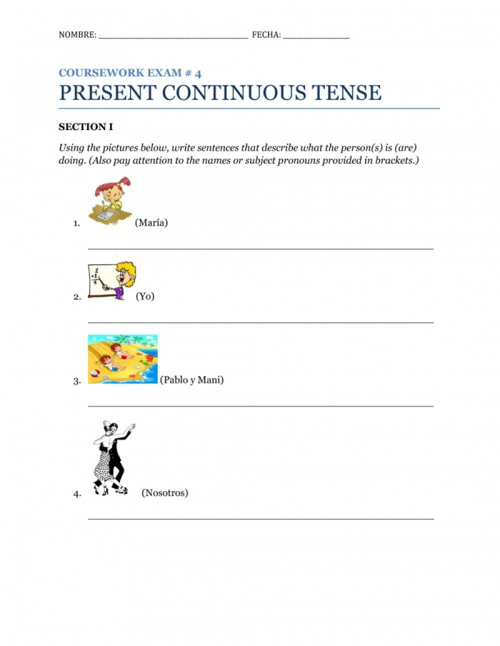 Present Continuous Tense Free Worksheet