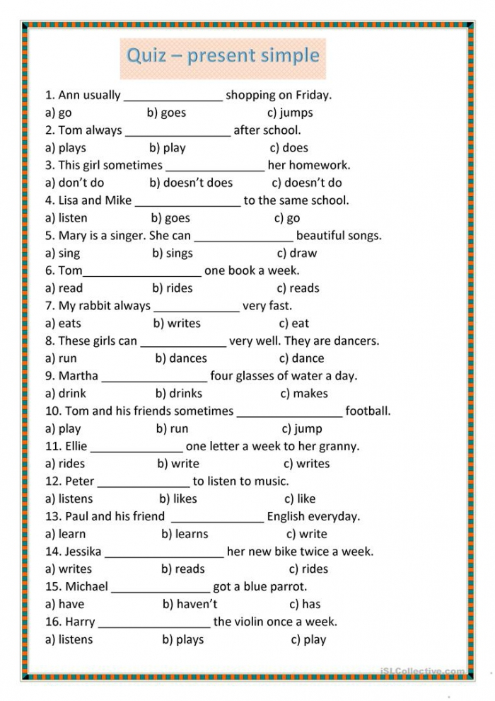 Present Simple Quiz